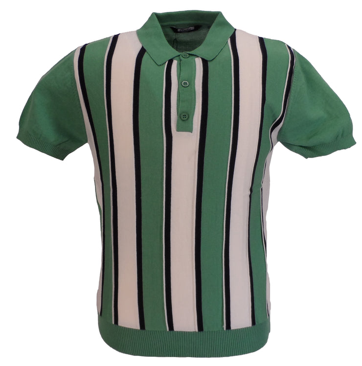 Relco Mens Pistachio Retro Striped Knitted Polo Shirts