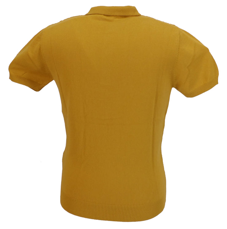 Relco Mens Mustard Retro Patterned Knitted Polo Shirts