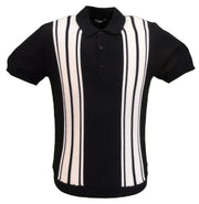 Relco Mens Navy Retro Knitted Polo Shirts