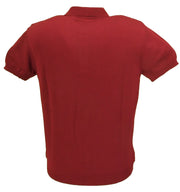 Relco Mens Burgundy Retro Knitted Polo Shirts