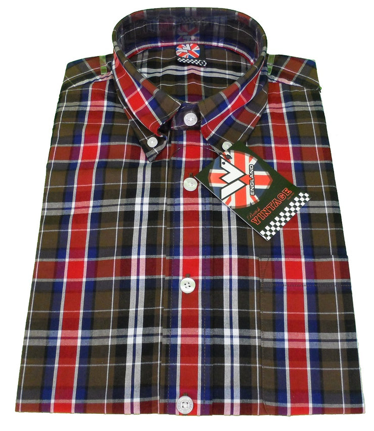 Warrior Buster Checked Retro Button Down Short Sleeve Shirt