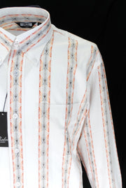 Relco Off  White Orange Striped Cotton Long Sleeved Retro Mod Button Down Shirts