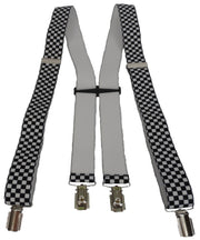 Mazeys Mens Made in England Black and White 35 mm Checkerboard Braces