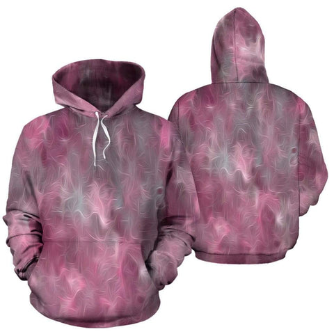 Chic Pink and Gray Fusion Pullover Hoodie - Merchandize.ca