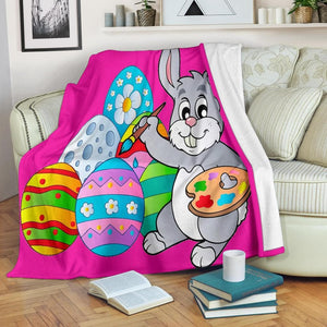 Easter Bunny Painting Eggs Micro Fleece Blanket - Merchandize.ca
