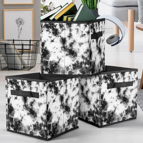 Black and White Tie Dye Storage Cube - Merchandize.ca