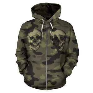 Camo Skull All Over Print Zip Up Hoodie for Lovers of Skulls and Camouflage - Merchandize.ca