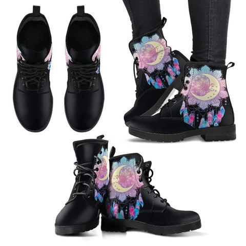 Moon Dream Catcher Women's Leather Boots - Merchandize.ca