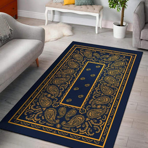 Navy Blue and Gold Bandana Area Rugs - Merchandize.ca