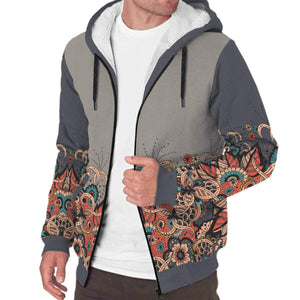New Custom Designed Colorful Floral AOP Sherpa Hoodie - Merchandize.ca