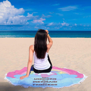 New Custom Designed Unicorn Mermaid Princess Beach Blanket - Merchandize.ca