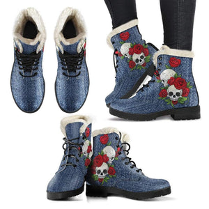 Skull Couple Roses (Dark Denim) - Faux Fur Leather Boots - Merchandize.ca
