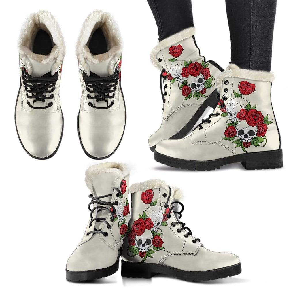 Skull Couple Roses (Sweet Corn) - Faux Fur Leather Boots - Merchandize.ca