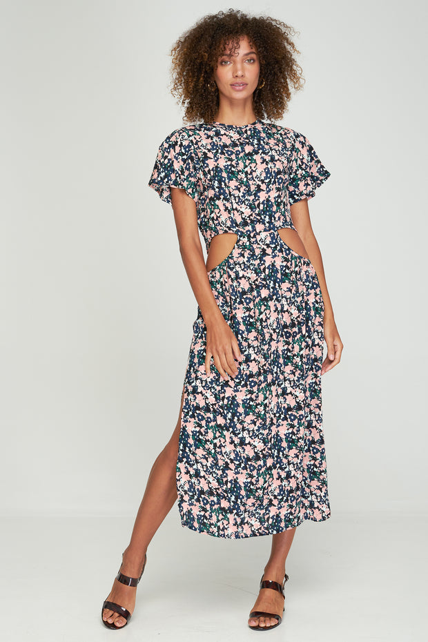 PRE-ORDER - LINA CUT-OUT DRESS - MONET FLORAL - NOIR