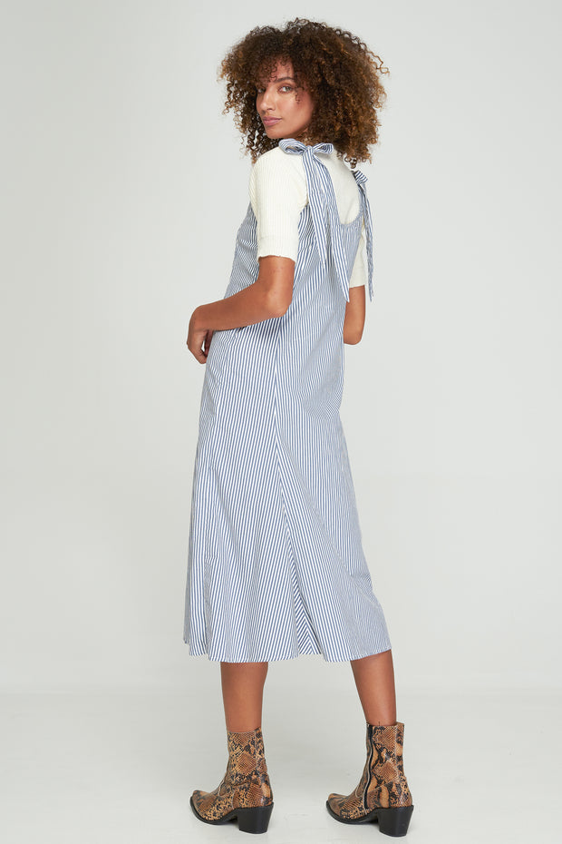 PIPER SPLIT DRESS - COASTAL BLUE STRIPE - SAMPLE