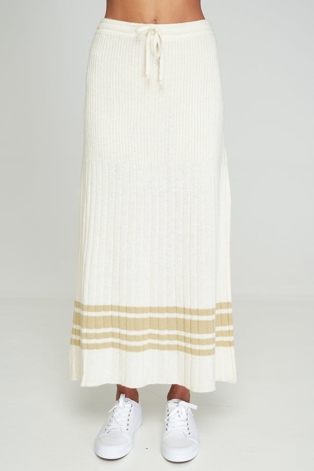 NICO KNIT SKIRT - Off White-Sand MIX