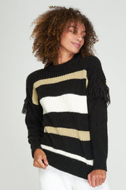 ENDY SWEATER - BLACK/WHITE/SAND MIX - SAMPLE