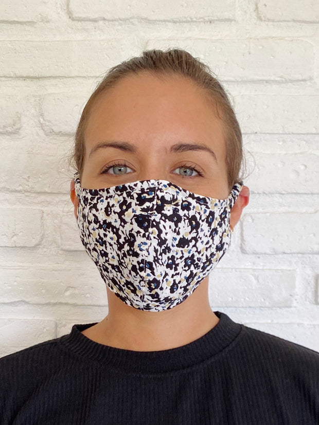 Black Floral Museo Viscose Mask Casing