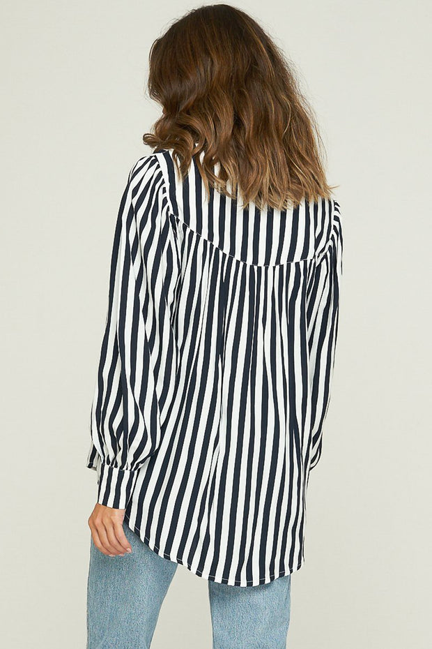 Layla Shirt - Hampton Stripe - Indigo - SAMPLE
