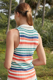 SIENNA KNIT POLO TOP - YVES STRIPE