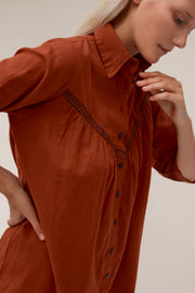 Norah Shirt Dress - Terracotta