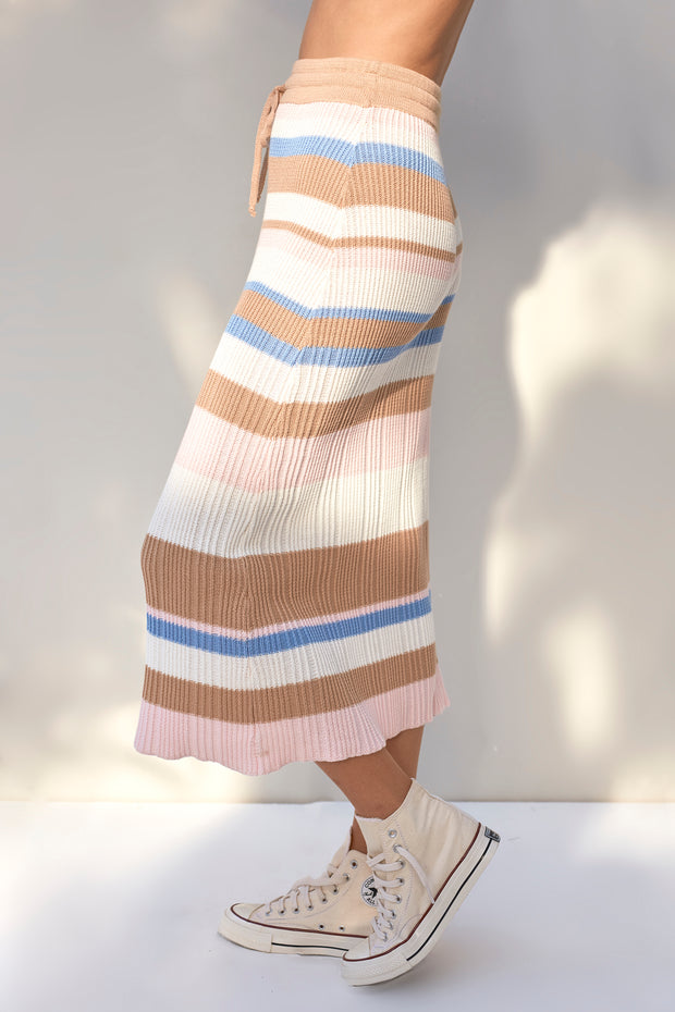Vada Skirt - Boxy Stripe Sky Blue