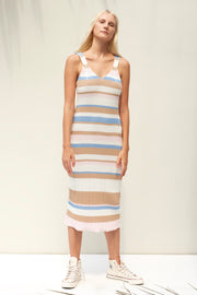 Karlie Dress - Boxy Stripe Sky Blue
