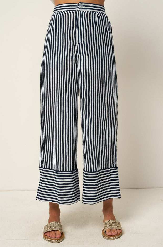 Wyatt Pant - Copperfield Stripe Moroccan Blue - SAMPLE