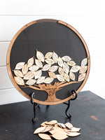 Round Guest Book Frame - Wooden Tree Insert with Leaf Drops
