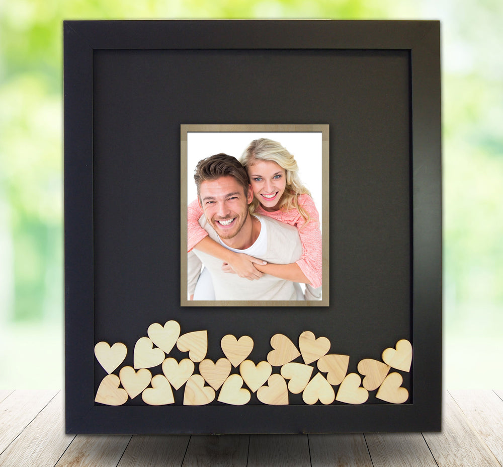 Drop Box Guest Book Frame with Opening for a Photo