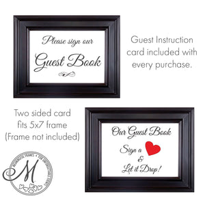 Drop Box Guest Book Frame with Wine Bottle Wooden Insert