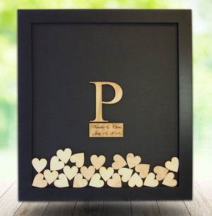 Wood Insert Drop Box Guestbook Frame with Custom Monogram