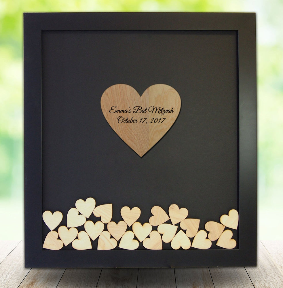 Bat Mitzvah Guest Book Frame - Heart