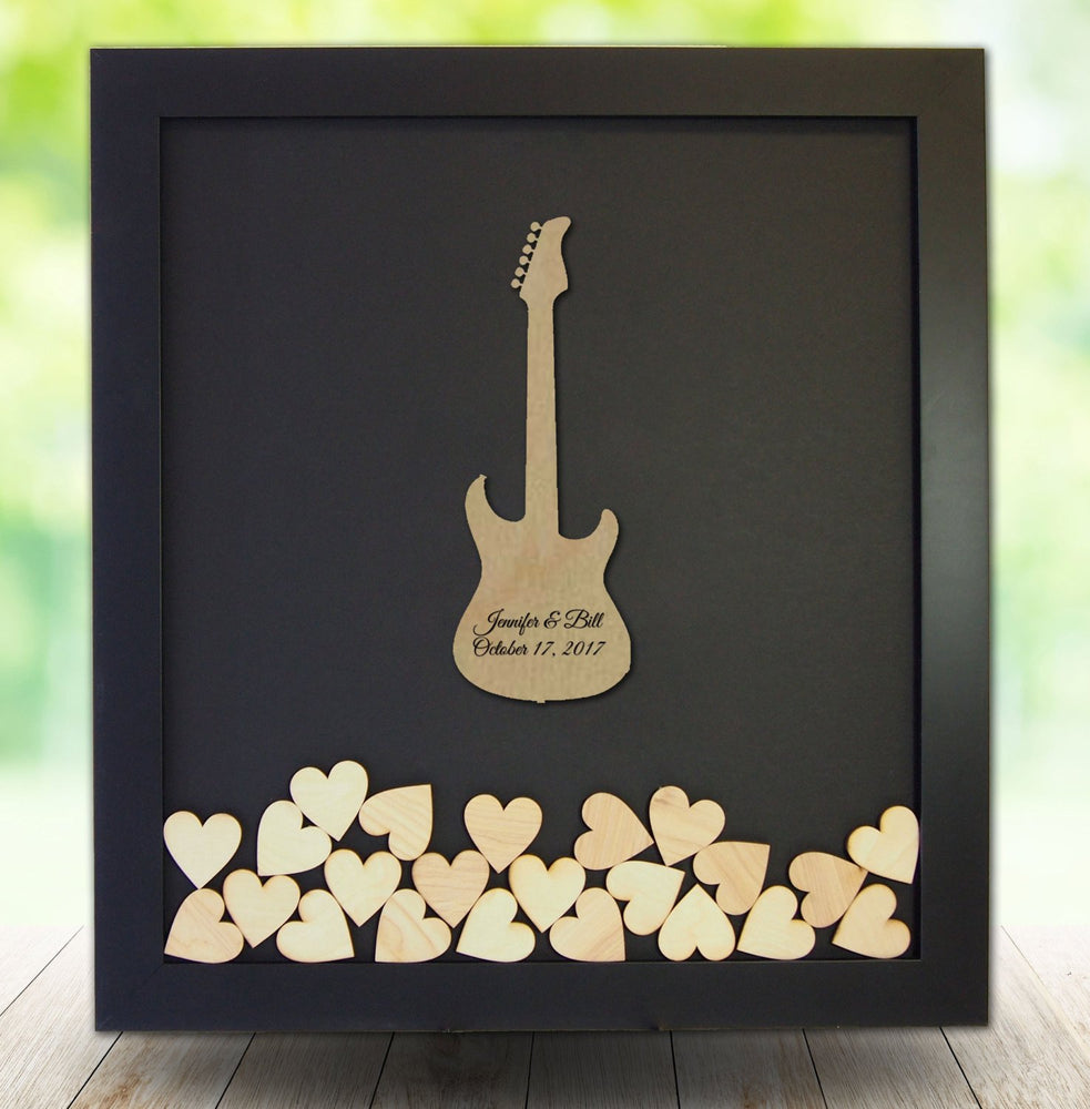 Drop Box Guest Book Frame with Electric Guitar Wooden Insert