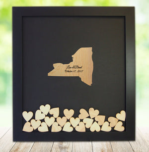Drop Box Guest Book Frame with New York Wooden Insert