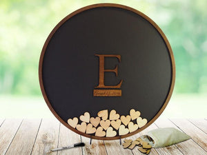 Round Guest Book Frame with Wooden Insert