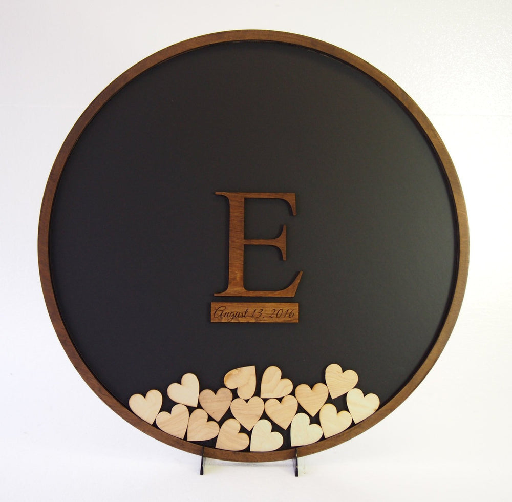 "24"" Round Guest Book Frame with Wooden Insert"