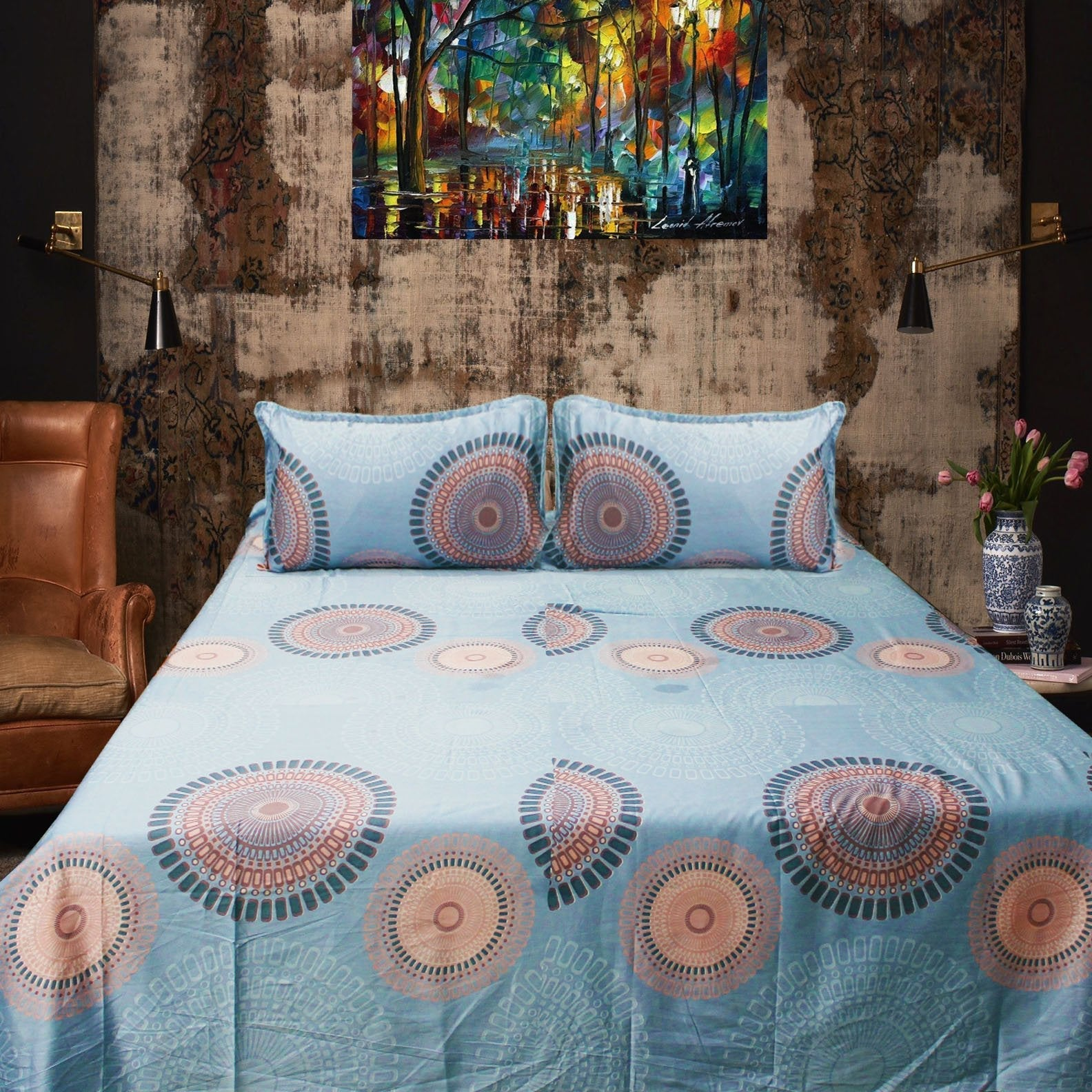 Circle Design - Cotton Satin Bed Sheet With 2 Pillow Cases