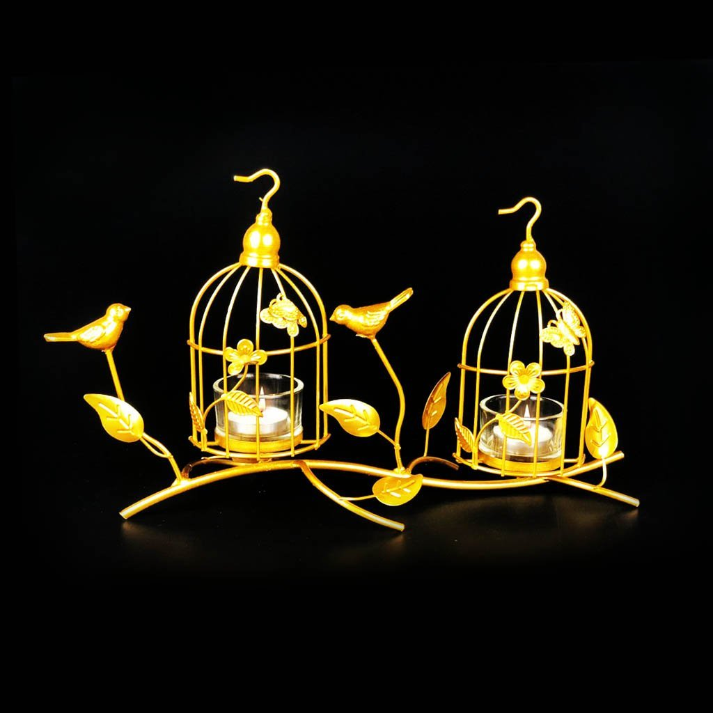 Bird Cage Metal Golden Candle Stand with Glass Pot