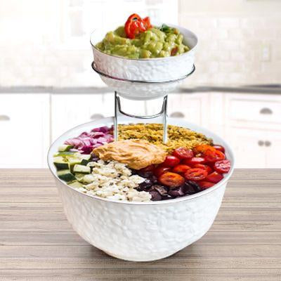 Chip and dip 2 Tier Round Bowl Set with Metal Rack