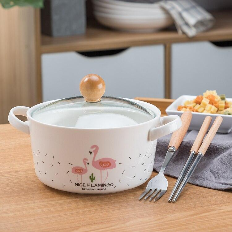 OUSSIRRO Flamingos Cartoon Creative instant Noodles Bowl With lid Ceramic Bowl Cute Student Job Bowl Soup Bowl