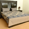 Grey Floral pattern cotton bed sheet with 2 pillow cases