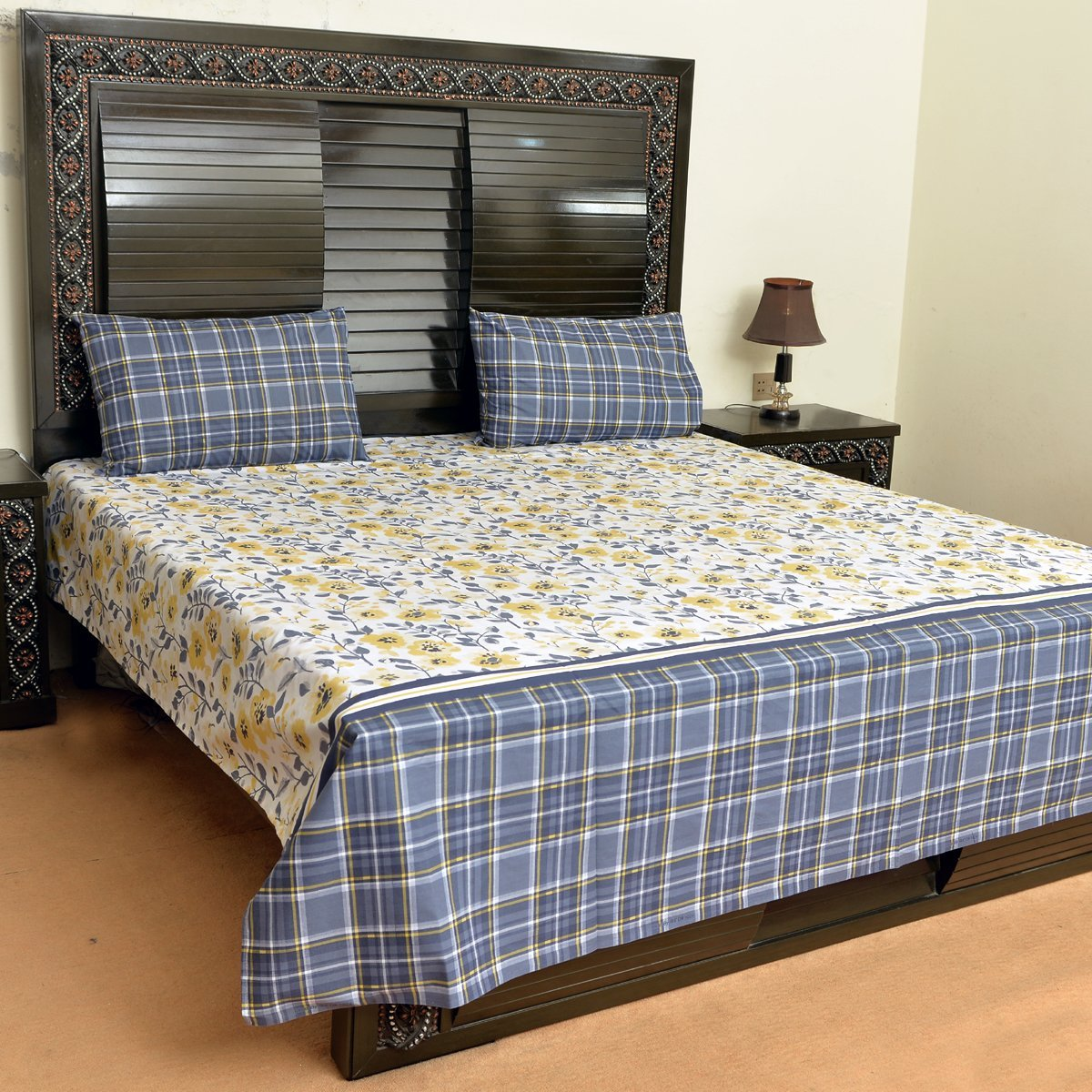 Yellowish flowers with check cotton bed sheet with 2 pillow cases