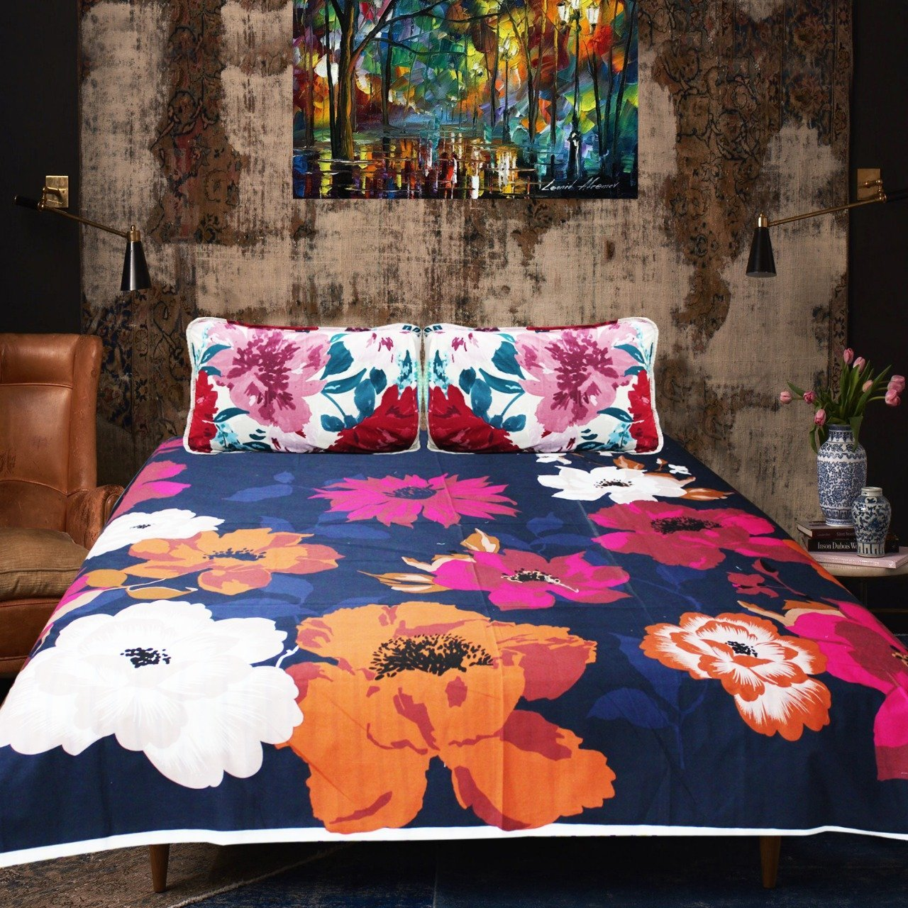 Cotton Double Bed Sheet With 2 Pillow cases