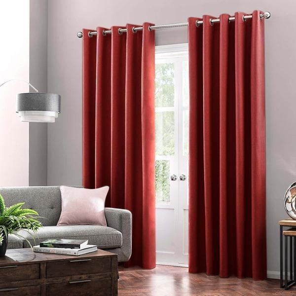 Ready Made Cotton Duck Plain Curtains with Lining & Stainless Steel Eyelet 8 Feet Length