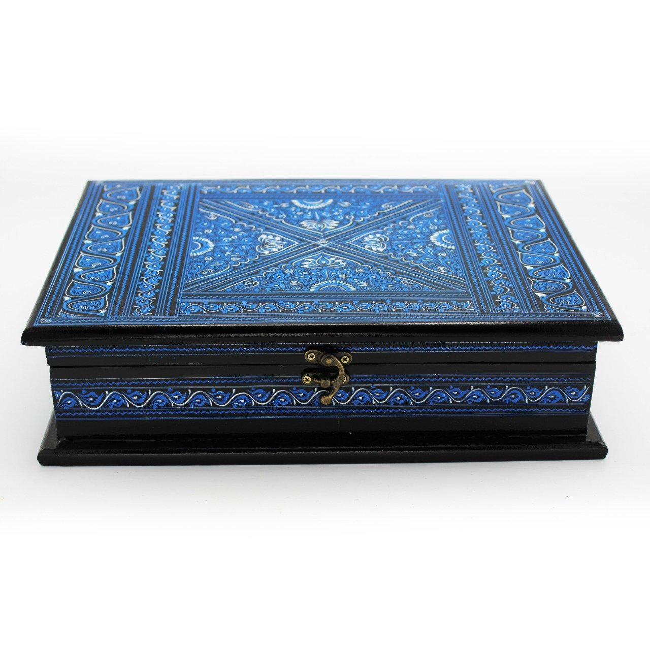 "Wooden Hand Made Jewellery Box - Large - Blue - 13""x9""x3.5"""