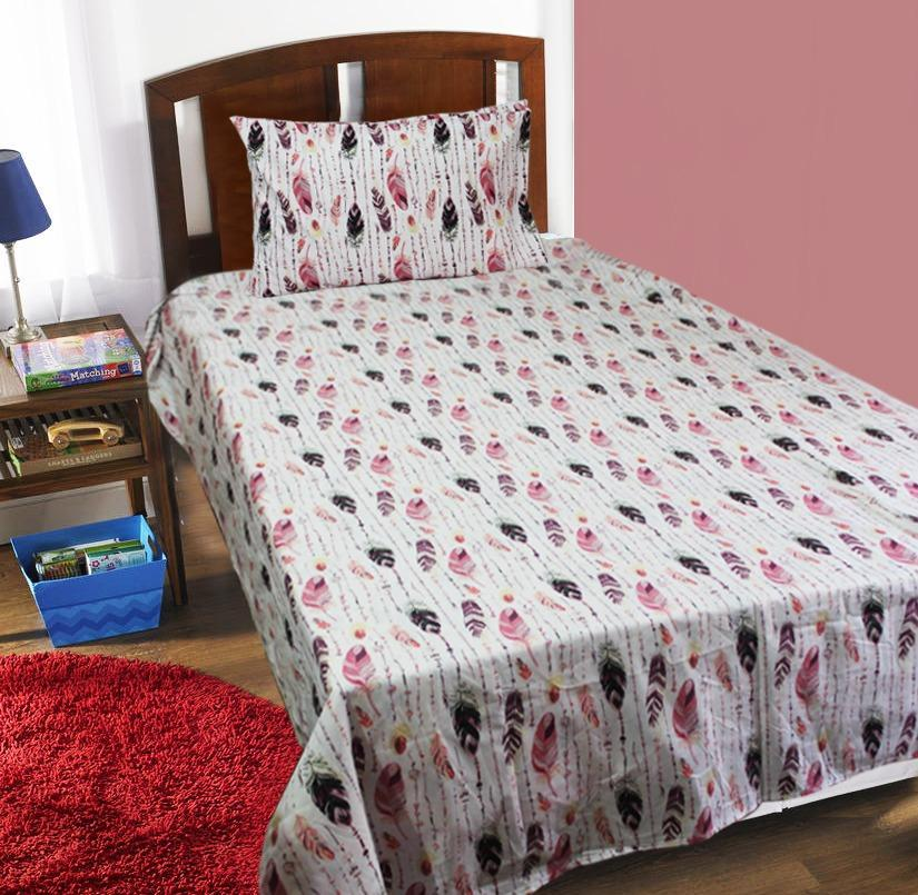 Single Kids Bed Sheet - Feathers