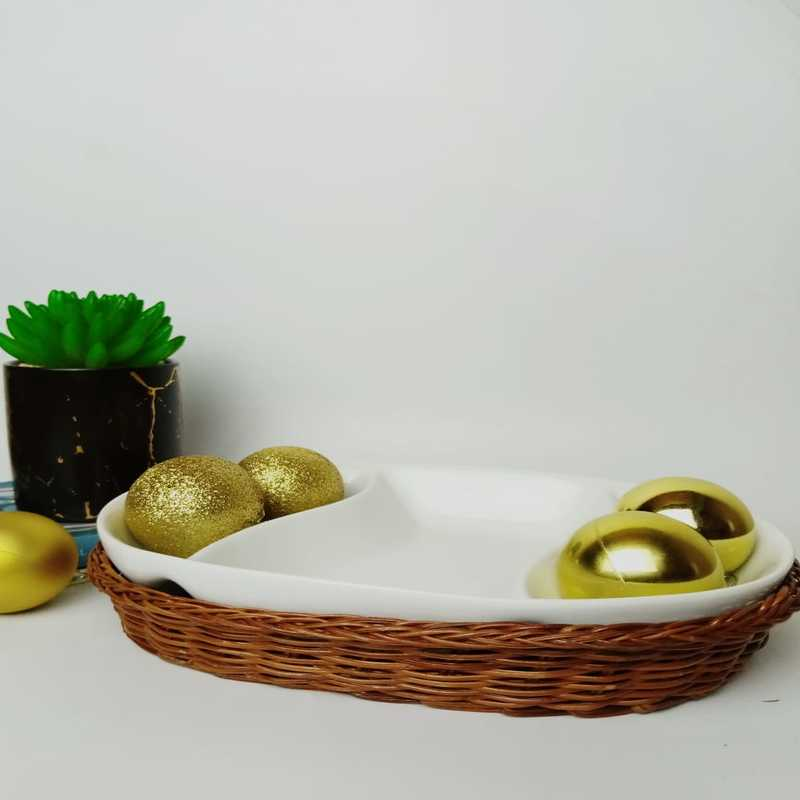 Snack Plate with Braided Basket (Oval Shaped)