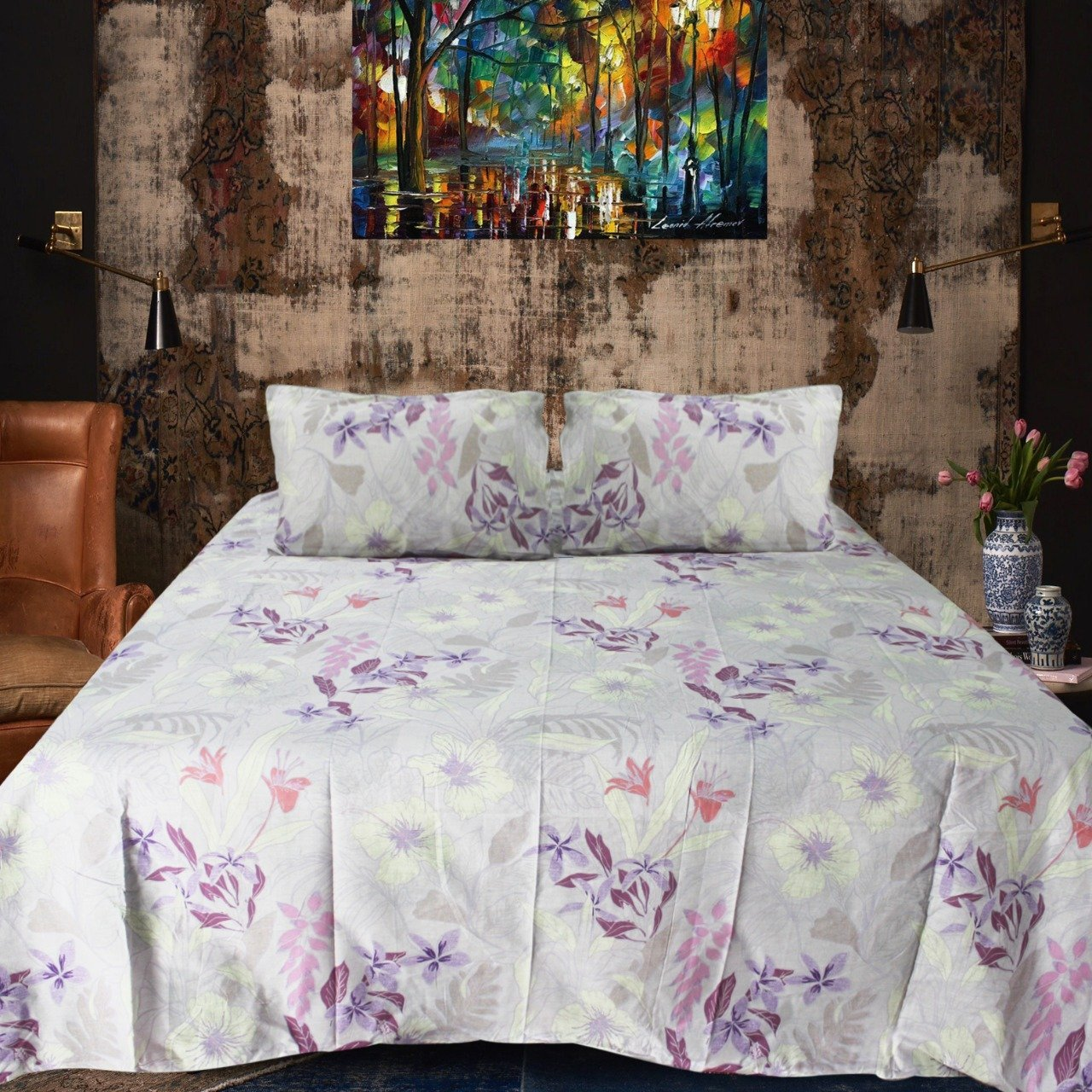 Export Quality Cotton Double Bed Sheet With 2 Pillow cases
