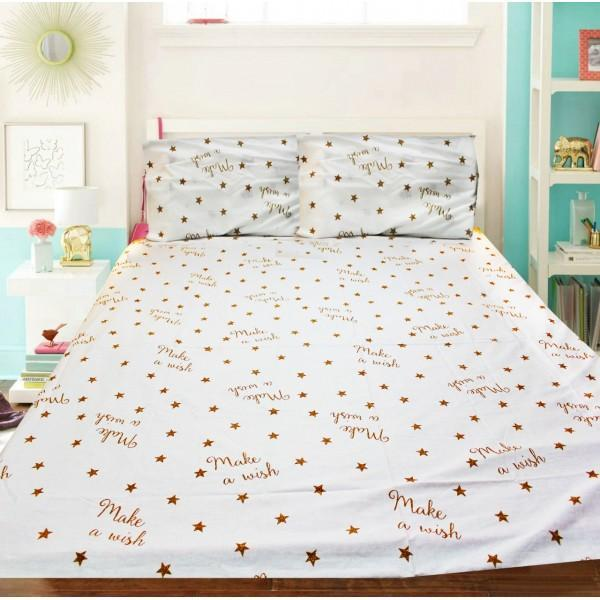 Export Cotton Double Bed Sheet With 2 Pillow cases -ecn045